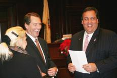 Judge Philip E. Haines being sworn in by Governor Chris Christie